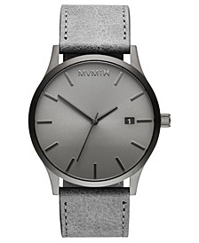Classic Monochrome Gray Leather Strap Watch 45mm