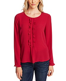 Ruffle-Trim Long-Sleeve Top