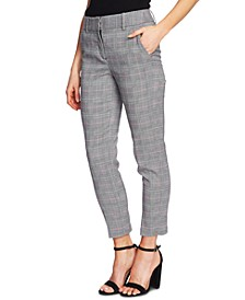 Plaid Straight-Leg Ankle Pants