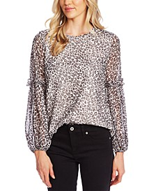 Leopard-Print Ruffled Top