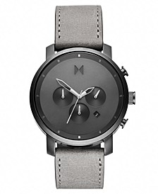 Chronograph Chrono Monochrome Gray Leather Strap Watch 45mm