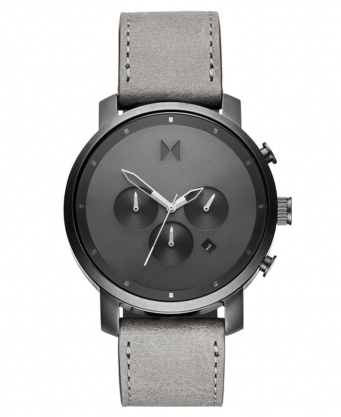 MVMT - Men's Chronograph Chrono Monochrome Gray Leather Strap Watch 45mm