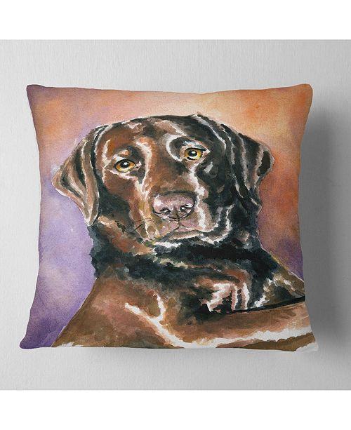 "Design Art Designart Brown Dog Watercolor Abstract Throw Pillow - 16"" X 16"""