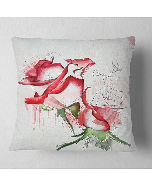 "Design Art Designart Fantastic Red Roses Watercolor Floral Throw Pillow - 16"" X 16"""