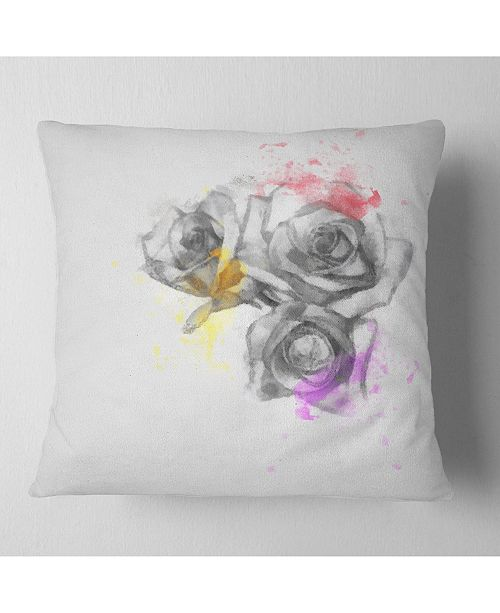"Design Art Designart Black White Watercolor Rose Sketch Floral Throw Pillow - 18"" X 18"""