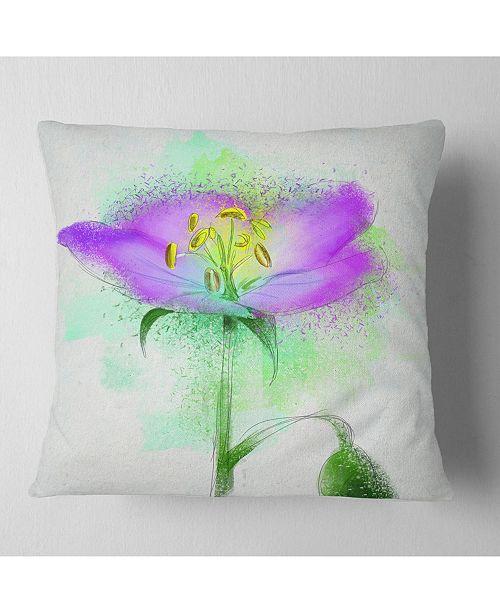 "Design Art Designart Beautiful Purple Watercolor Flower Floral Throw Pillow - 18"" X 18"""