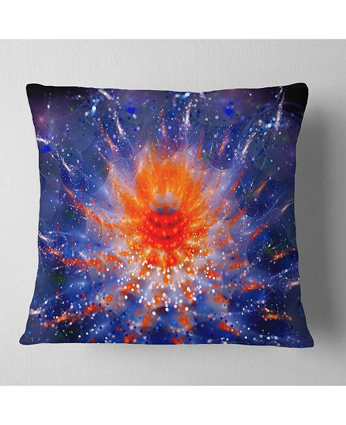"Design Art Designart Colorful Glowing Flower In Space Flower Throw Pillow - 18"" X 18"""
