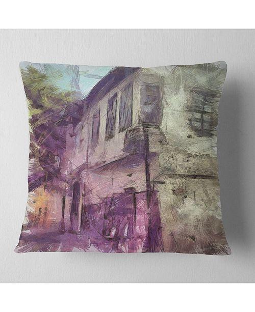 "Design Art Designart Old City Street Watercolor Sketch Cityscape Throw Pillow - 18"" X 18"""