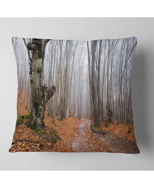 "Design Art Designart Road Covered By Fallen Leaves Modern Forest Throw Pillow - 16"" X 16"""