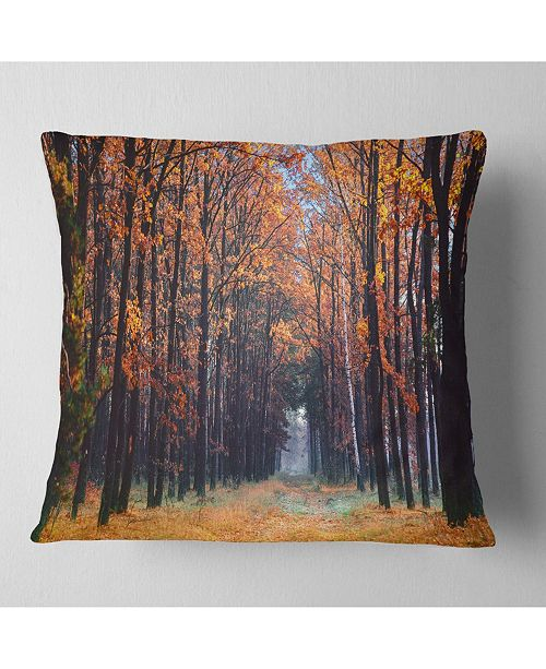 "Design Art Designart Alley In The Dense Autumn Forest Forest Throw Pillow - 16"" X 16"""