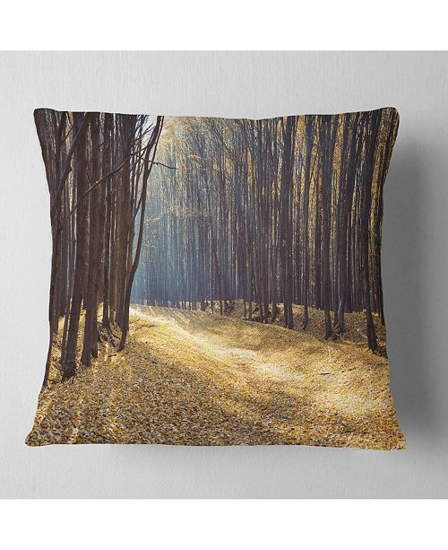 "Design Art Designart Path In The Fall Forest Panorama Forest Throw Pillow - 18"" X 18"""