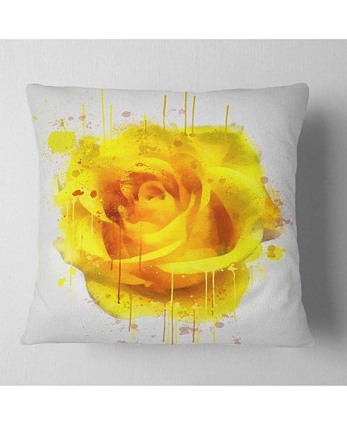 "Design Art Designart Beautiful Rose In Yellow Watercolor Floral Throw Pillow - 16"" X 16"""