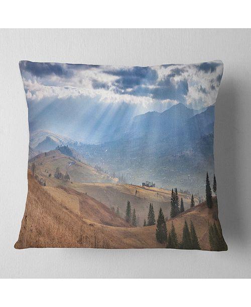 "Design Art Designart Beautiful Mountain Village View Landscape Printed Throw Pillow - 18"" X 18"""