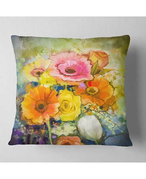 "Design Art Designart White Gerbera Red Rose And Tulips Floral Throw Pillow - 16"" X 16"""