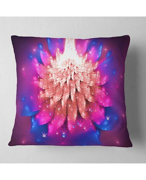 """Design Art Designart Bright Pink Fractal Flower On Blue Floral Throw Pillow - 18"""" X 18"""""""