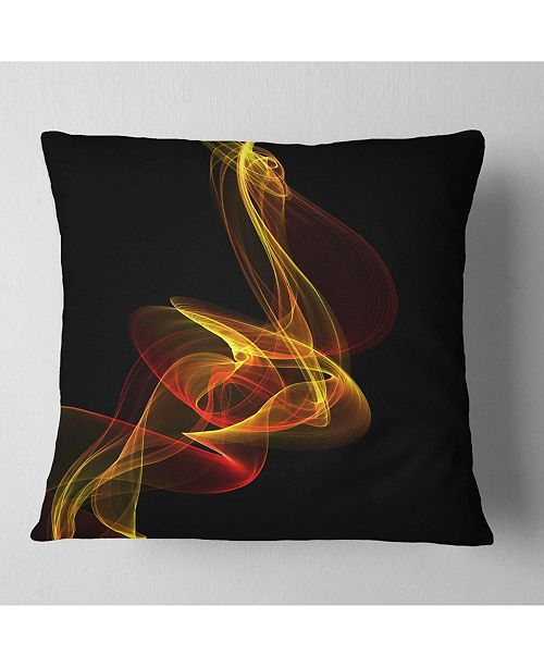 "Design Art Designart Red Yellow Twisted Waves Fractal Abstract Throw Pillow - 18"" X 18"""