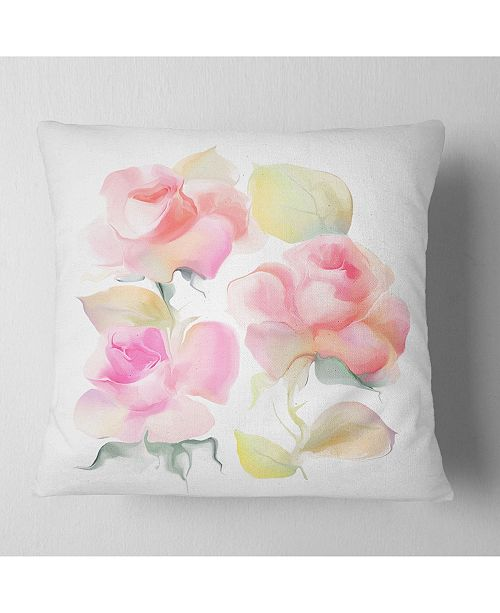 "Design Art Designart Beautiful Pink Rose Flowers Animal Throw Pillow - 18"" X 18"""