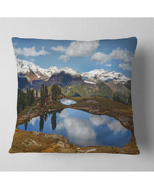 "Design Art Designart Lake With Pine Trees Reflecting Sky Landscape Printed Throw Pillow - 18"" X 18"""
