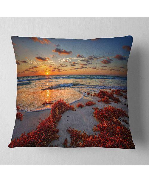 "Design Art Designart Beautiful Shore And Cloudy Sky Landscape Printed Throw Pillow - 18"" X 18"""