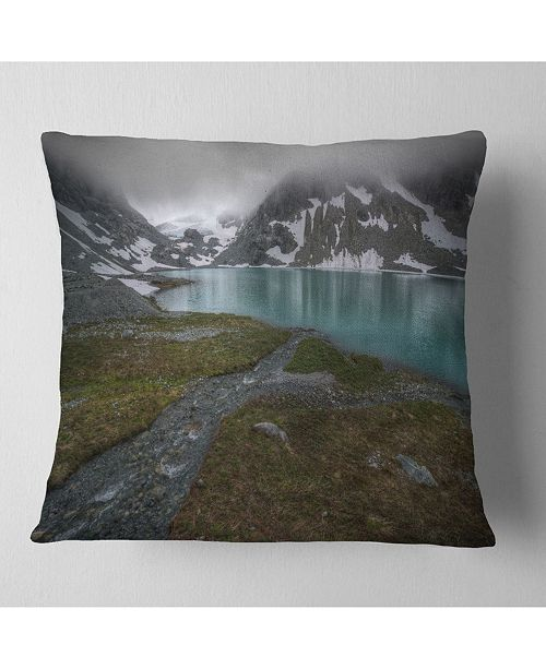 """Design Art Designart Turquoise Mountain Lake With Clouds Landscape Printed Throw Pillow - 18"""" X 18"""""""