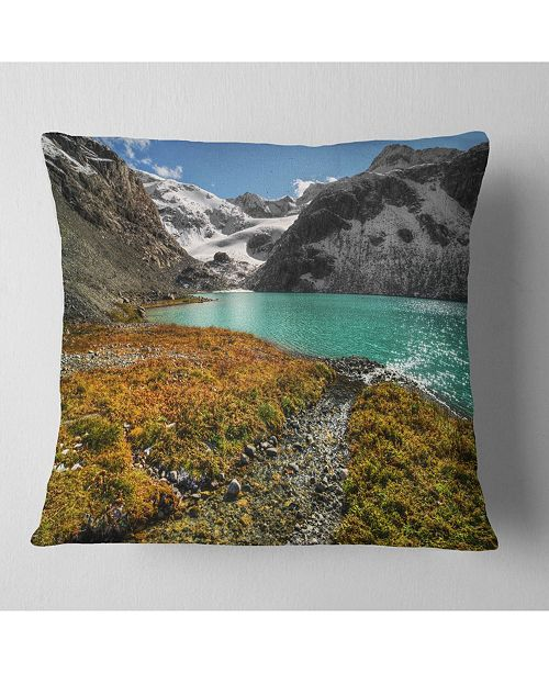 "Design Art Designart Crystal Clear Lake Among Mountains Landscape Printed Throw Pillow - 16"" X 16"""