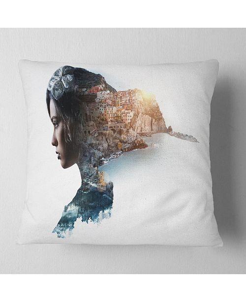 """Design Art Designart Double Exposure Woman Portrait Portrait Throw Pillow - 18"""" X 18"""""""