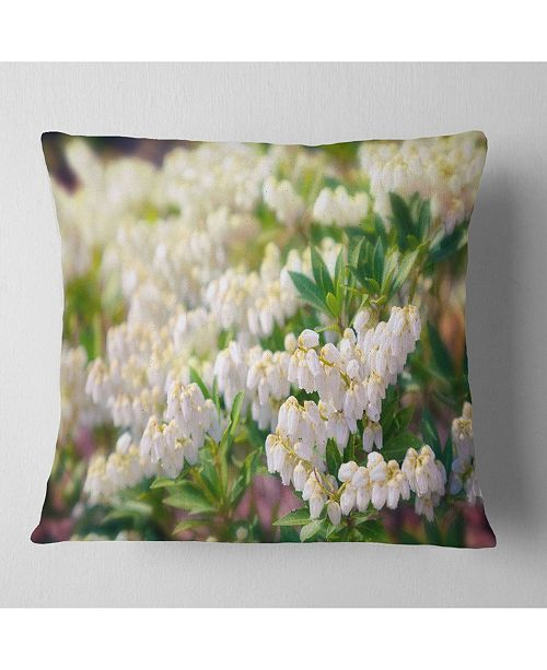 "Design Art Designart Beautiful Blooming White Flowers Floral Throw Pillow - 18"" X 18"""