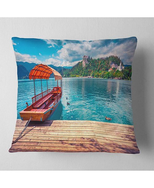 "Design Art Designart Boat In Lake Bled In Julian Alps Landscape Printed Throw Pillow - 18"" X 18"""