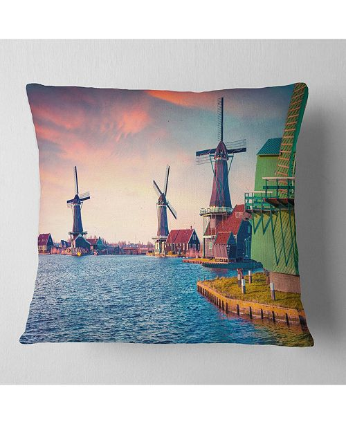 "Design Art Designart Zaandam Mills On Water Channel Landscape Printed Throw Pillow - 16"" X 16"""