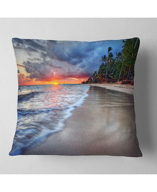 "Design Art Designart Fluffy Dark Clouds Over Ocean Seashore Throw Pillow - 16"" X 16"""