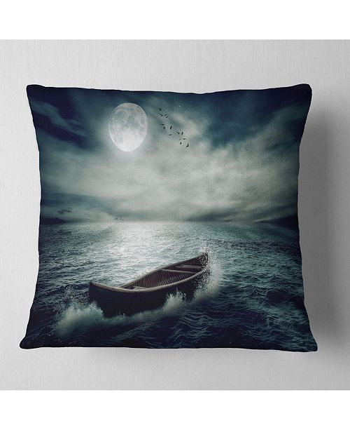 "Design Art Designart Boat Drifting Away After Storm Seashore Throw Pillow - 18"" X 18"""