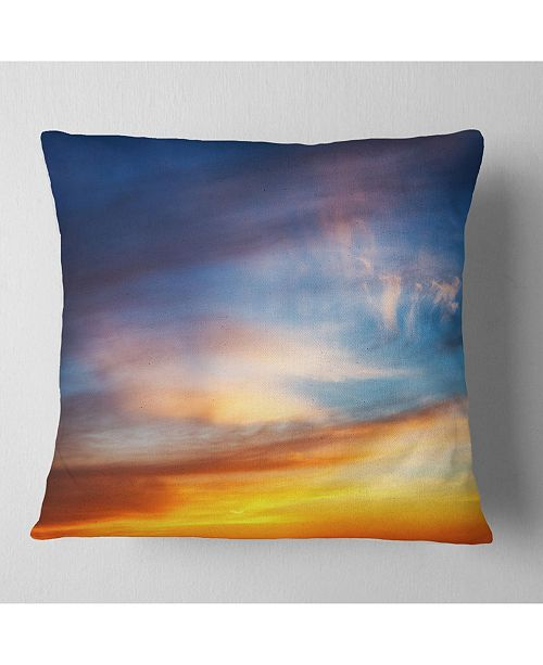 "Design Art Designart Sunset Dramatic Yellow Sky Clouds Seashore Throw Pillow - 16"" X 16"""