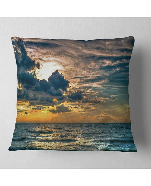 "Design Art Designart Sun Break Over Blue Ocean Seashore Throw Pillow - 18"" X 18"""
