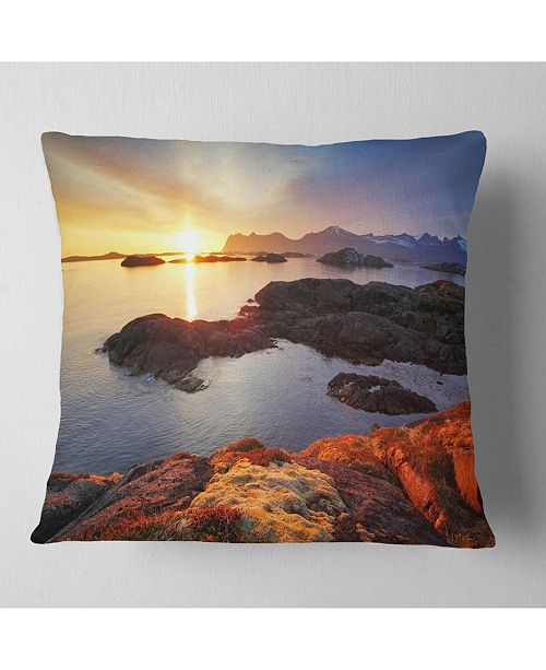"Design Art Designart Ocean Coast Nice Sunset In Norway Seashore Throw Pillow - 16"" X 16"""