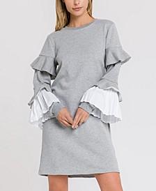 Combo Pleat Sweater Dress