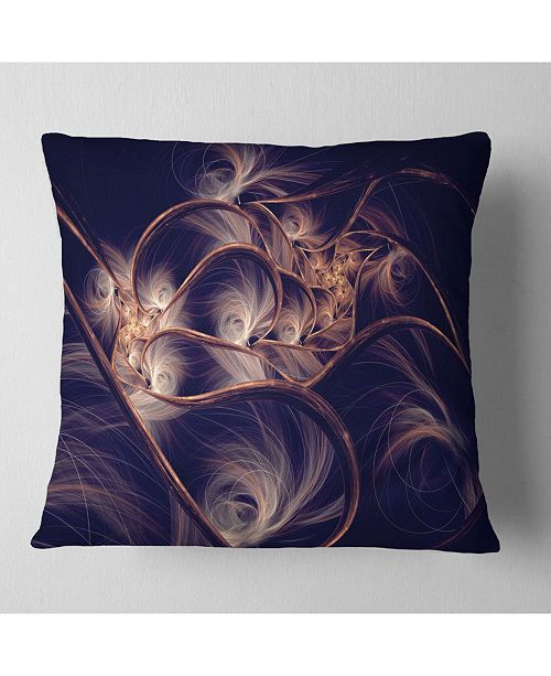 "Design Art Designart Dark Gold Fractal Flower Pattern Abstract Throw Pillow - 16"" X 16"""