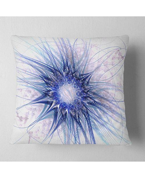 """Design Art Designart Blue Light Fractal Flower Texture Abstract Throw Pillow - 16"""" X 16"""""""