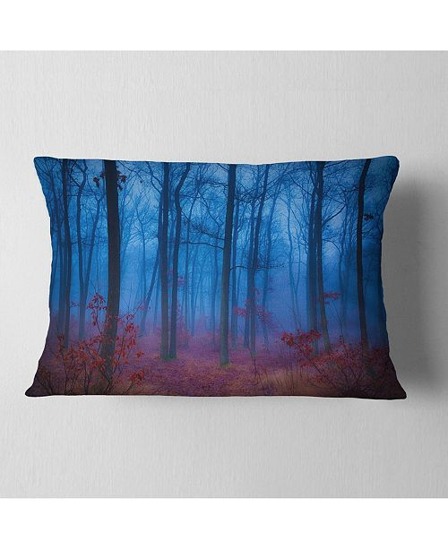 "Design Art Designart Mysterious Blue Thick Woods Modern Forest Throw Pillow - 12"" X 20"""