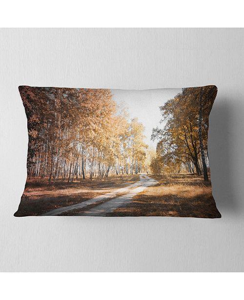 """Design Art Designart Straight Road In Fall Birch Grove Modern Forest Throw Pillow - 12"""" X 20"""""""