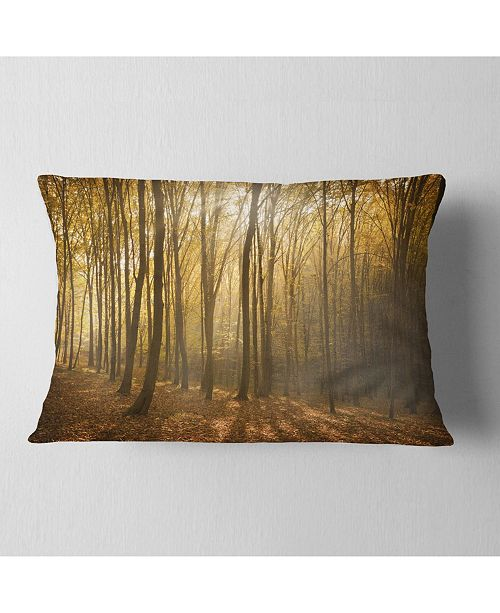 "Design Art Designart Thick Green Fall Forest With Fog Forest Throw Pillow - 12"" X 20"""