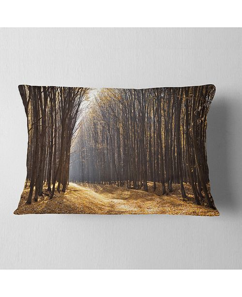 """Design Art Designart Light In The Forest Path Panorama Forest Throw Pillow - 12"""" X 20"""""""