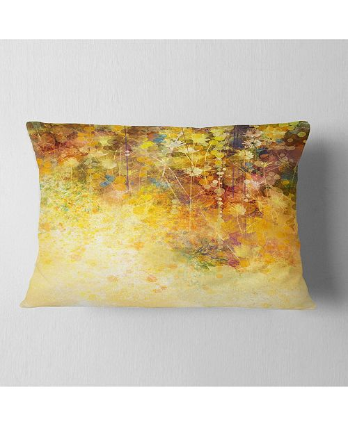 "Design Art Designart White Flowers And Soft Color Leaves Floral Throw Pillow - 12"" X 20"""