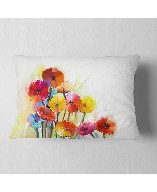"Design Art Designart Colorful Gerbera Flowers Watercolor Floral Throw Pillow - 12"" X 20"""
