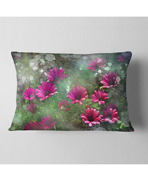 "Design Art Designart Red And Pink Flowers On Green Floral Throw Pillow - 12"" X 20"""
