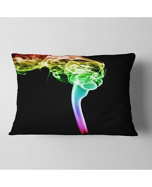 "Design Art Designart Isolated Abstract Smoke On Black Abstract Throw Pillow - 12"" X 20"""