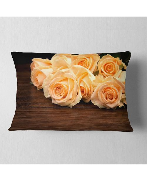 "Design Art Designart Roses On Wooden Surface Photo Floral Throw Pillow - 12"" X 20"""