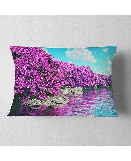 "Design Art Designart Beautiful Row Of Cherry Blossoms Landscape Printed Throw Pillow - 12"" X 20"""