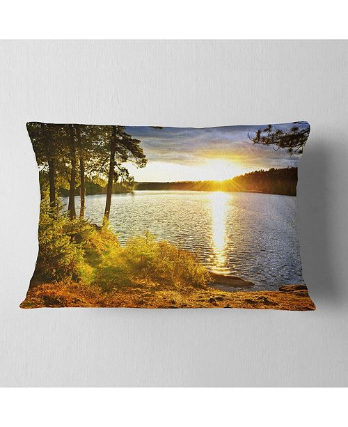 "Design Art Designart Beautiful View Of Sunset Over Lake Landscape Printed Throw Pillow - 12"" X 20"""