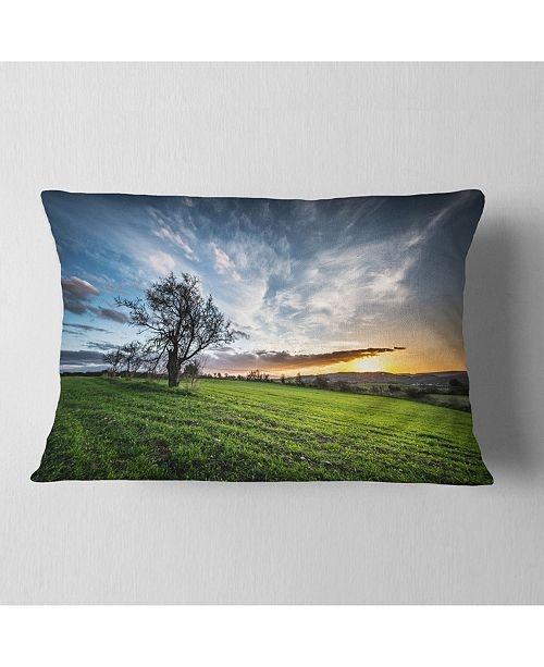 "Design Art Designart Green Grass Field In Sardinia Landscape Printed Throw Pillow - 12"" X 20"""