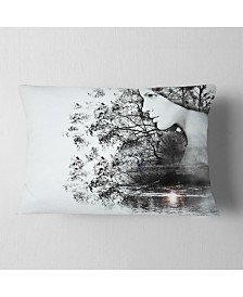 """Designart Woman And Beauty Of Nature Landscape Printed Throw Pillow - 12"""" X 20"""""""
